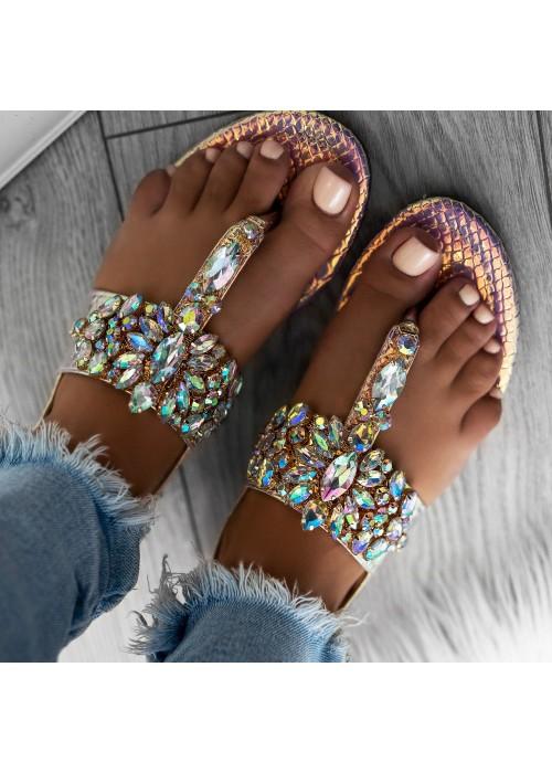 sandále s kameňami Ashley 2 zlaté