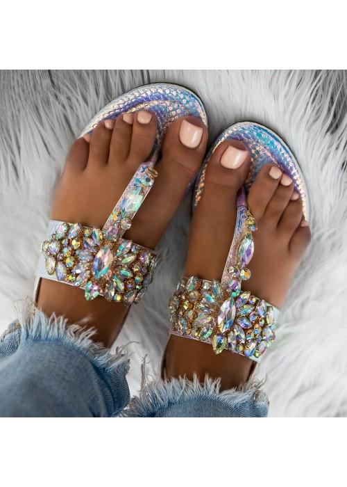 sandále s kameňami Ashley 2 strieborné