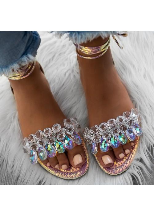 sandále s kryšťálmi na viazanie rosé