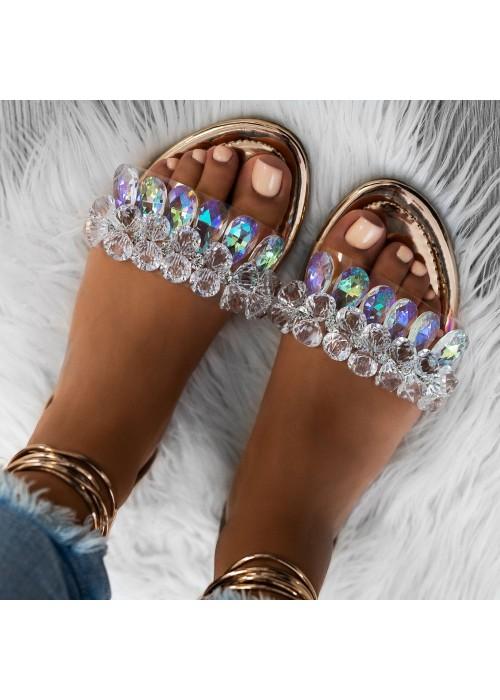 sandále s kryšťálmi na viazanie rose gold
