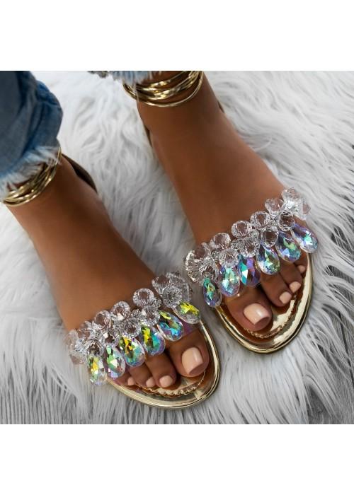 sandále s kryšťálmi na viazanie zlaté