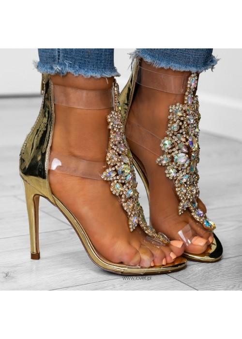 Luxusné sandálky s kamienkami Selena zlaté