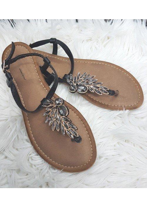 Čierne sandálky s kamienkami Wing
