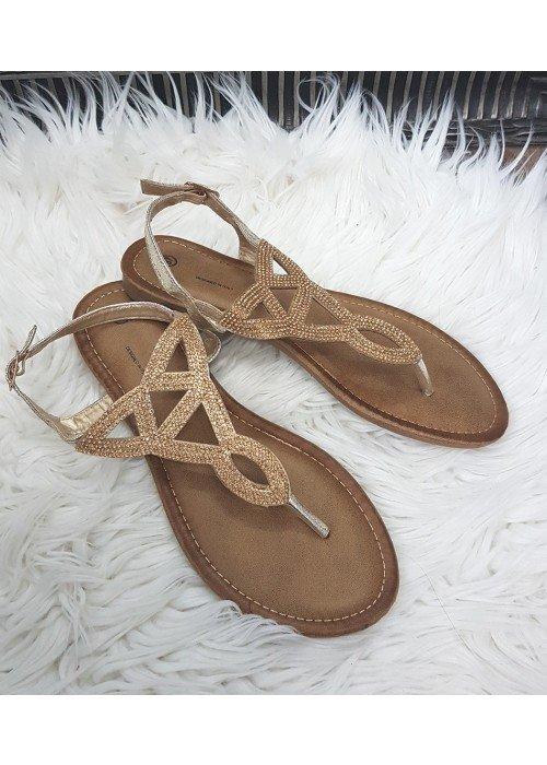 Sandálky s kamienkami Sia zlaté