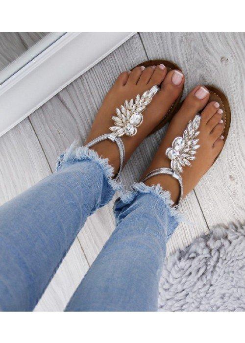 Strieborné sandálky s kamienkami Wing