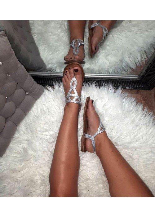 Sandálky s kamienkami Sia strieborné