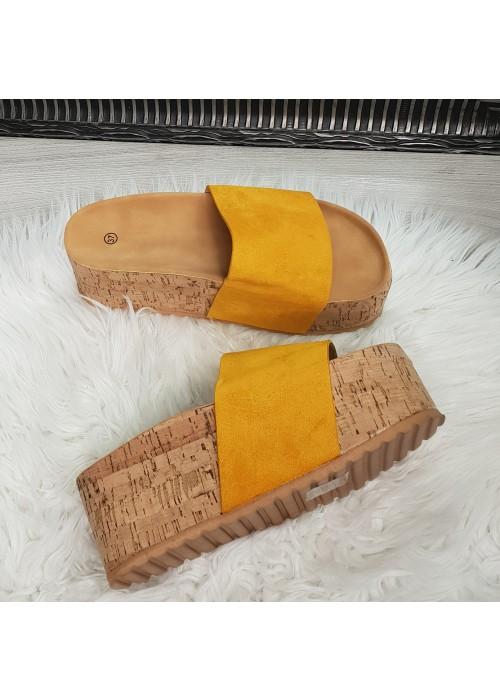 Platformové šľapky Maya žlté