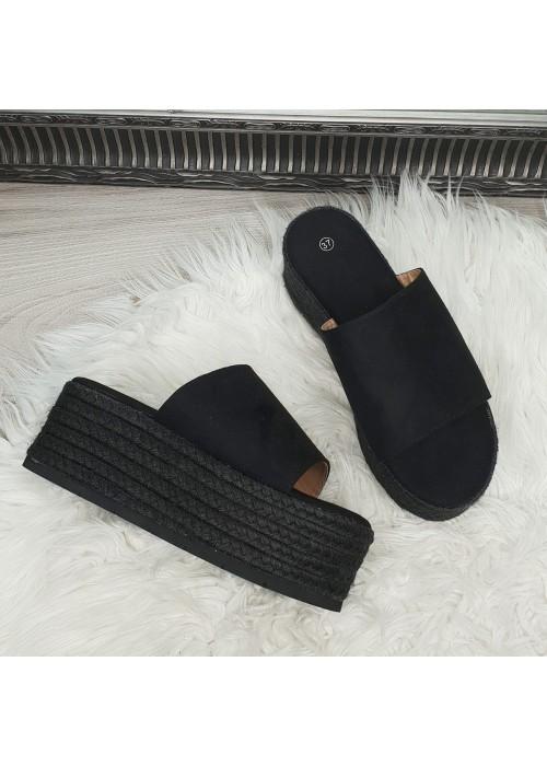 Platformové šľapky Henny čierne