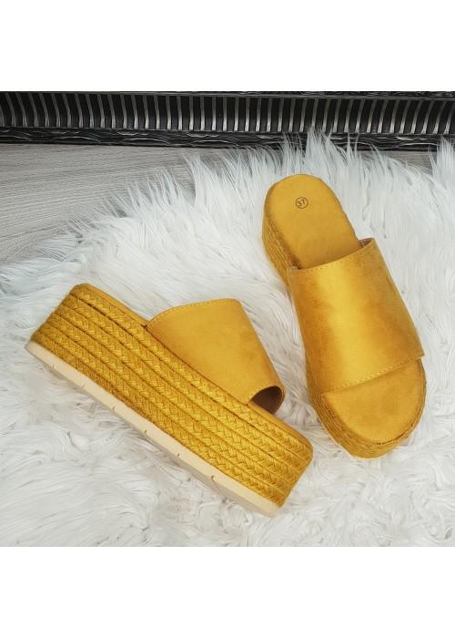 Platformové šľapky Henny žlté