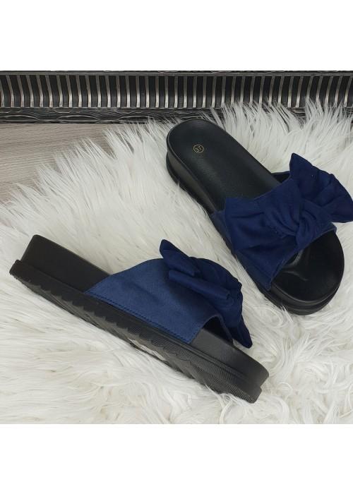 Modré šľapky s mašľou