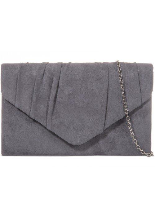 Semišová listová kabelka Milla tmavo šedá