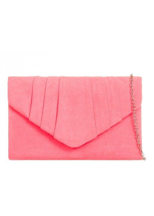 Semišová listová kabelka Milla neónovo ružová