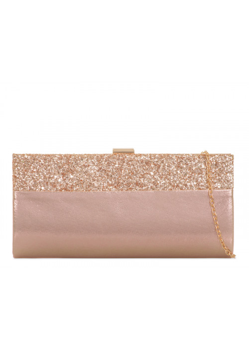 Spoločenská trblietavá kabelka Gaby rosegold