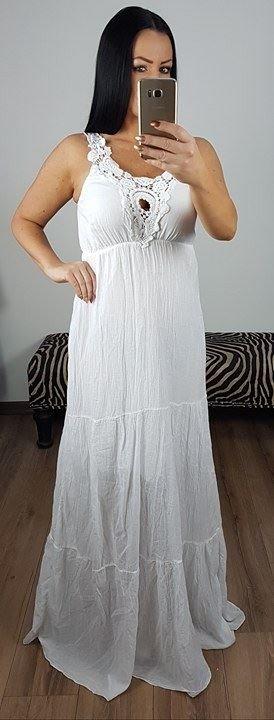 3d9143533c67 Biele maxi šaty Afrodite - Divalli.sk