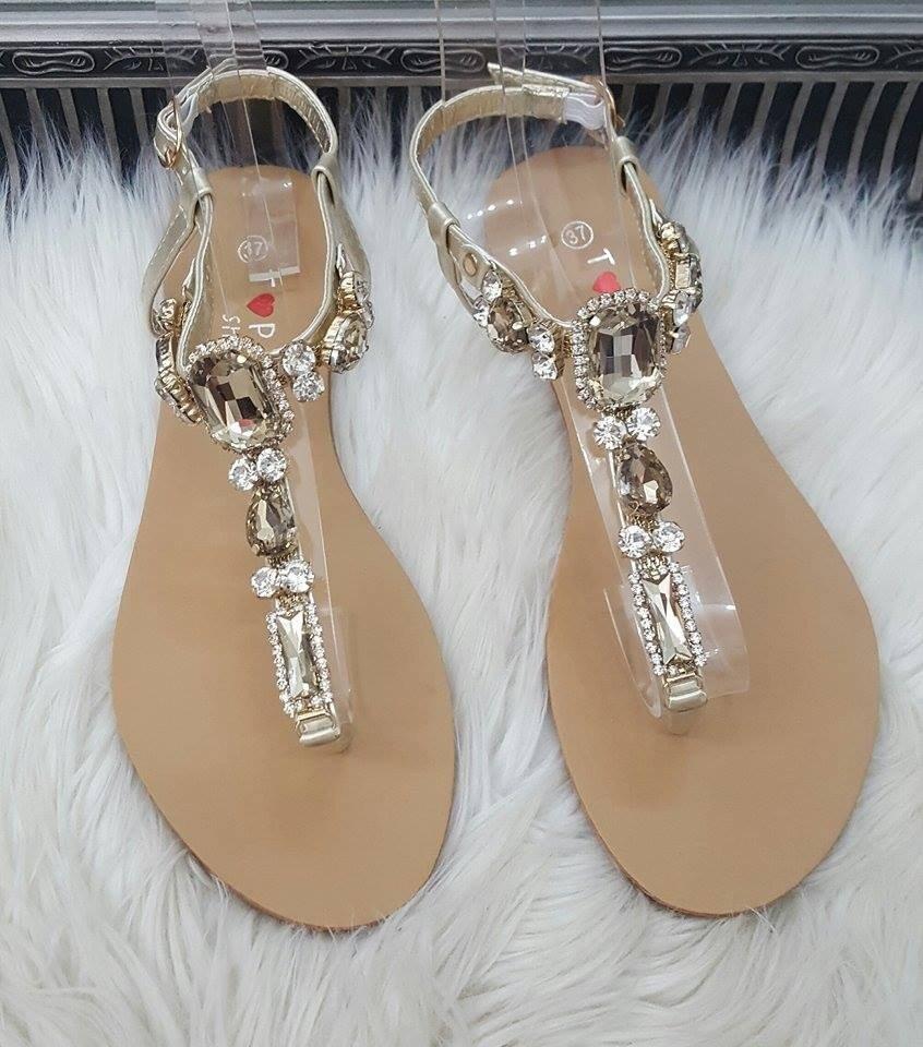 2b25917c5cd4 Sandálky s kamienkami Stone zlaté · Kliknite pre zväčšenie obrázku