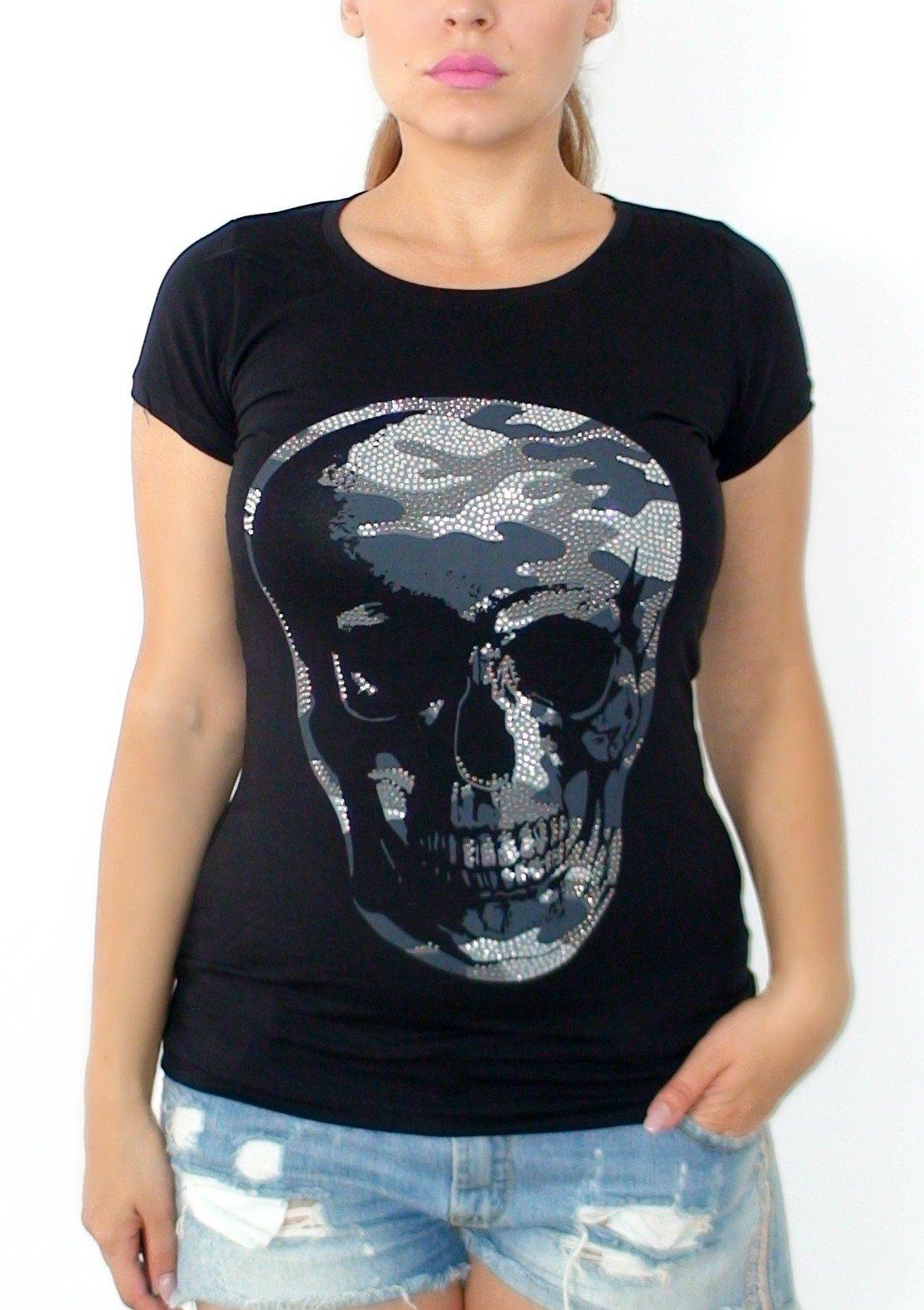 0f8f4cee4f52 Tričko s kamienkami Skull čierne - Divalli.sk