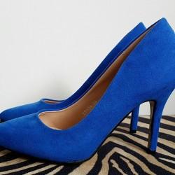 Kráľovské modré semišové lodičky Eva