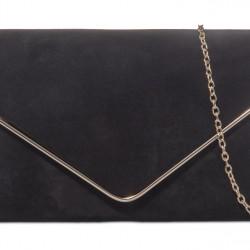 Semišová listová kabelka Sofia čierna