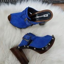 Kožené dreváky Riva modré