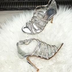 Strieborné sandále Star
