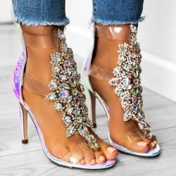 Luxusné sandálky s kamienkami Selena perleťové