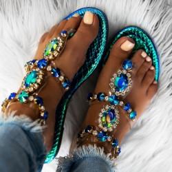Modré sandále s kamienkami Maura