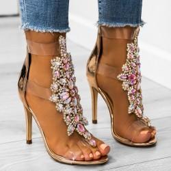 Luxusné sandálky s kamienkami Selena rose gold