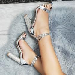 Strieborné sandále s kamienkami Alla