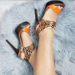 Kožené sandále Leopardo oranžové
