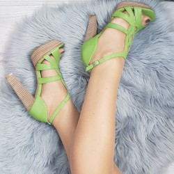 Kožené sandále Veronica zelené