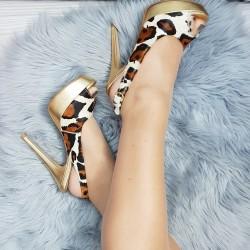 Kožené sandále Leo zlaté