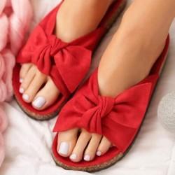 Červené šľapky s mašľou Meggie