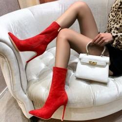 Červené semišové kotničky Olivia