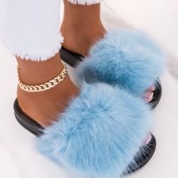 modré chlpaté papuče Furra
