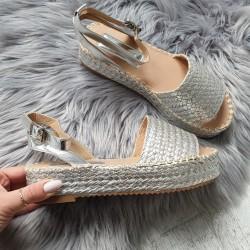 Espadrilkové sandále Semira strieborné