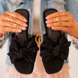 Čierne šľapky s mašľou Millie