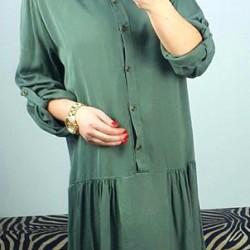 Olivové košeľové šaty