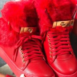 Luxusné zateplené tenisky Perry červené