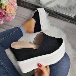 Platformové šľapky Emma čierne