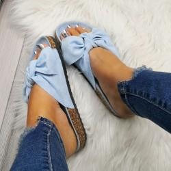 Svetlo modré šľapky s mašľou Meggie