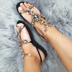 Sandálky s kamienkami Moana čierne
