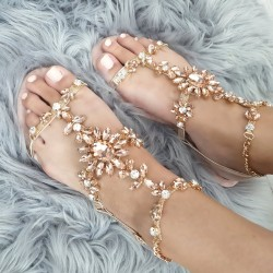 Sandálky s kamienkami Moana rose gold