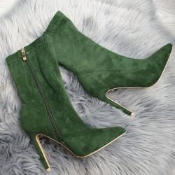 Zelené semišové kotničky Olivia