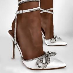 Biele spoločenské sandále Madame