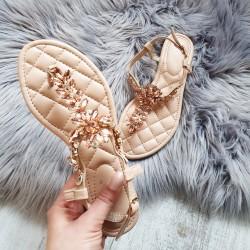 Rose gold sandálky s kamienkami Bloom