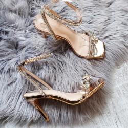 Rose gold spoločenské sandále Ivi