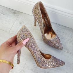 Lodičky s kryštálikmi Cinderella rose gold