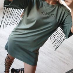 Tričkové šaty so strapcami OLV olivove