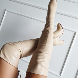 Béžové čižmy nad koleno Laura