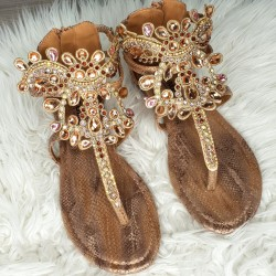 Sandálky s kamienkami Ella medené